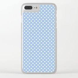 Minimalist White Polka Dots On Baby Blue Clear iPhone Case