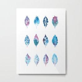Blue Purple Watercolor Leaves Metal Print