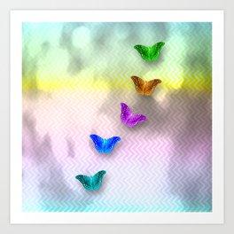 Rainbow of butterflies on textured chevron pattern Art Print