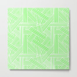 Sketchy Abstract (White & Light Green Pattern) Metal Print