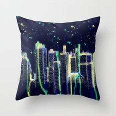 Dusk Falls Over Manhattan Throw Pillow