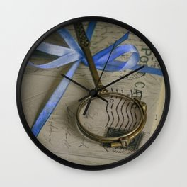 Still life with old letters and vintage loupe Wall Clock