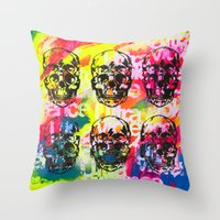 ultraviolence Throw Pillows featuring Ultraviolence 4i skull - mixed media on canvas by kakin