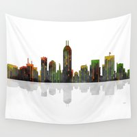 indiana Wall Tapestries featuring Indiana Skyline BW1 by Marlene Watson