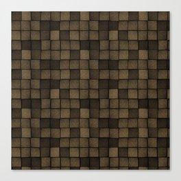 Wood Blocks-Chocolate Brown Canvas Print