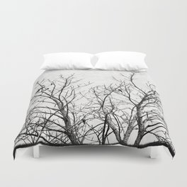 Birds in Branches Gothic Silhouette Duvet Cover