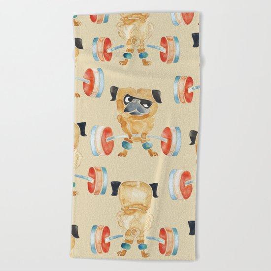 Pug Lift Sweat Beach Towel