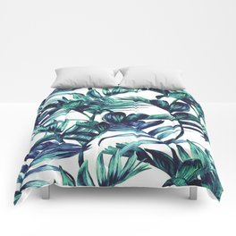 Leaves Paint in Blue Comforters