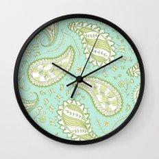 Pretty Paisley - Aqua/Green Wall Clock