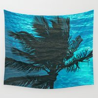 swimming Wall Tapestries featuring Swimming Palm by Catspaws