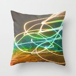 Rainbow Light Graffiti Throw Pillow