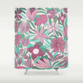 Pastel Pink Green Floral Leaves Glitter Pattern Shower Curtain