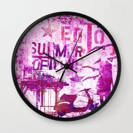pink urban mixed media art Wall Clock