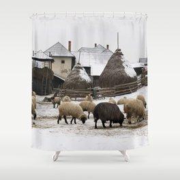 Unique winter scene from Transylvania Shower Curtain
