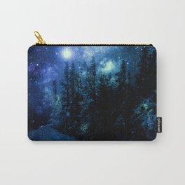Galaxy Winter Forest Deep Blue Green Carry-All Pouch