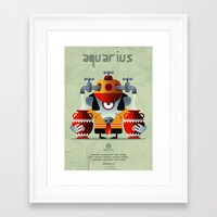 aquarius Framed Art Prints featuring AQUARIUS by Angelo Cerantola