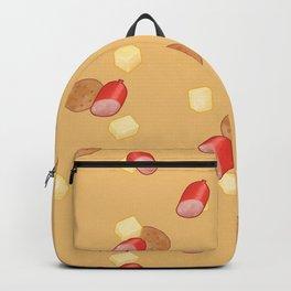 Cheese, Kabana and Jatz snacks on Orange Backpack