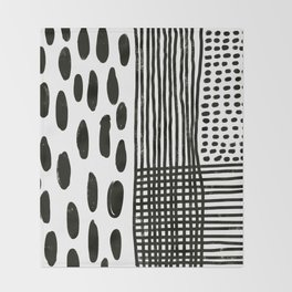 Play minimalist abstract dots dashes and lines painterly mark making art print Throw Blanket