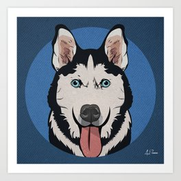 Icons of the Dog Park: Husky Design in Bold Colors for Pet Lovers Art Print