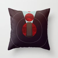 2001 a space odyssey Throw Pillows featuring 2001: A Space Odyssey - The Monolith Tribute by Thecansone