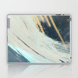 Karma: a bold abstract in blues and gold Laptop & iPad Skin