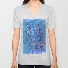 Blue Hollyhock Foxglove Minimalist Watercolor Unisex V-Neck