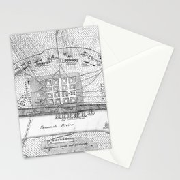 Vintage Map of The Siege of Savannah GA (1779) Stationery Cards