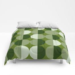 Retro circles grid green Comforters