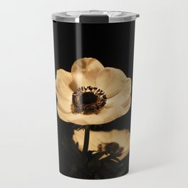 Anemone Flowers, Black with Golden Frame, Floral Nature Photography Travel Mug