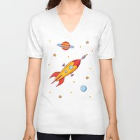 spaceship V-neck T-shirts featuring Spaceship! by Doodle Dojo