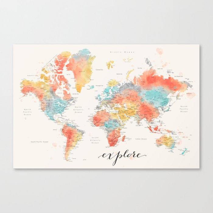 """""""Explore"""" - Colorful watercolor world map with cities Leinwanddruck"""