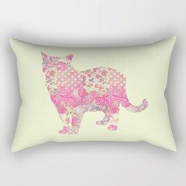 Burmese Cat Vintage Floral Pattern Pink Cream Shabby Chic Rectangular Pillow