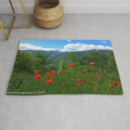Wild poppies of the Pyrenees mountains Rug