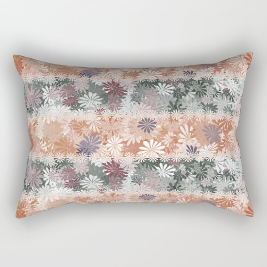 Floral Stripes Rectangular Pillow