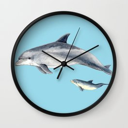 Blue Bottlenose dolphin Wall Clock