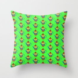 Dream Pattern - House in Cup - TeaPot - Dream Color - Green Throw Pillow