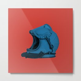 Space Helmet Blue Metal Print