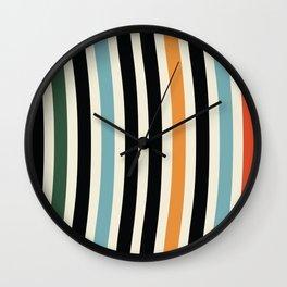 Raincore - Mid Century Modern Rainbow Retro Lines Abstract Pattern - Blue Yellow Green Red Black Wall Clock