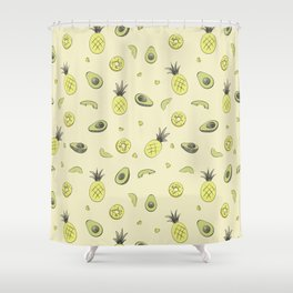 Pineapple and Avocado Shower Curtain