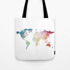Painted World Map Tote Bag