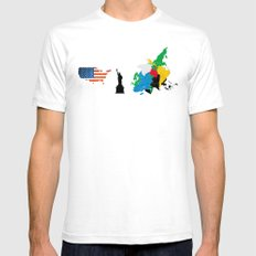 only the USA White SMALL Mens Fitted Tee
