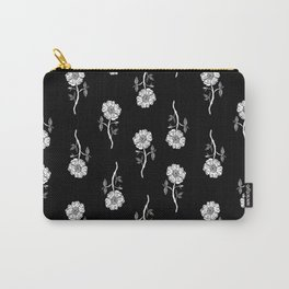 Linocut floral Rose pattern flowers carving printmaking Carry-All Pouch