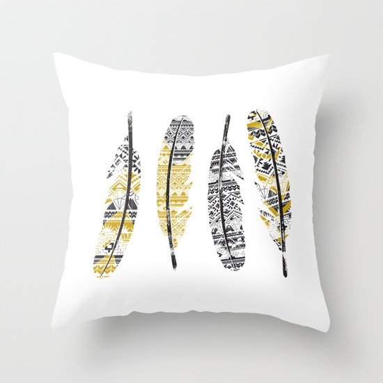 Mustard Feathers Throw Pillow