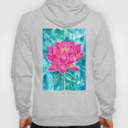 Sacred Lotus – Magenta Blossom with Turquoise Wash Hoody