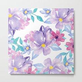 Lavender pink teal watercolor modern floral Metal Print