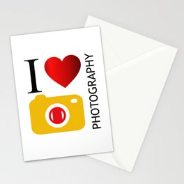 I love photography- Photography lovers passion- yellow camera Stationery Cards