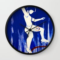 pivot Wall Clocks featuring Brooklyn Bombshells by JezRebelle