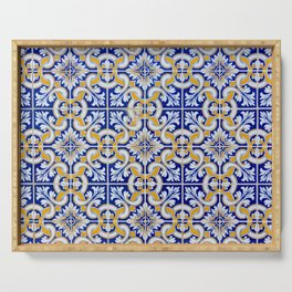 Close-up of blue, white and yellow ceramic wall tiles in Tavira, Portugal Serving Tray