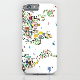 Animal Map of the World for children and kids iPhone Case