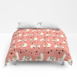 White Llamas in a pink desert Comforters